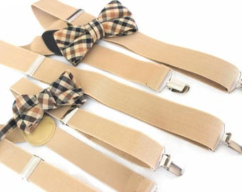 suspenders with two bow ties,father -son-set, beige,brown