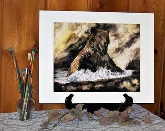 Bear, Wildlife Matted Art Print 11inx14in