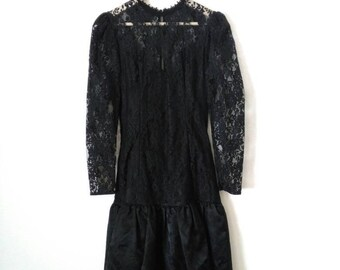Black lace dress drop waist 80 dress with big bow medium small Halloween party dress