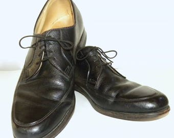 Vintage Black Leather OXFORD Shoes / Kinney Oxfords Pebbled Leather /  Men 8.5 - 9 Women 10.5 - 11