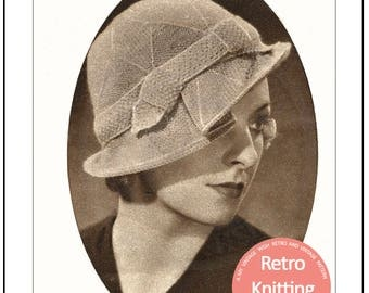1930s Hat with a Brim – PDF Knitting Pattern -  PDF Instant Download Pattern