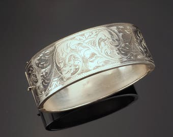 Vintage Silver Bangle Bracelet Floral Engraving, 1959