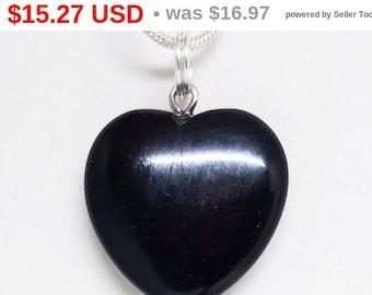 10% OFF Black, Obsidian, Heart, Pendant, Gemstone, Crystal, Necklace