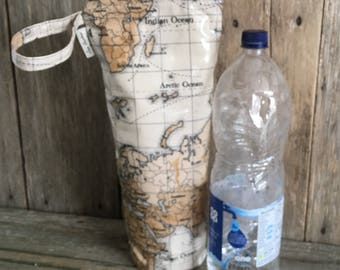 Insulated water bottle bag,oilcloth bottle carrier,insulated 2ltr bottle bag,world maps oilcloth