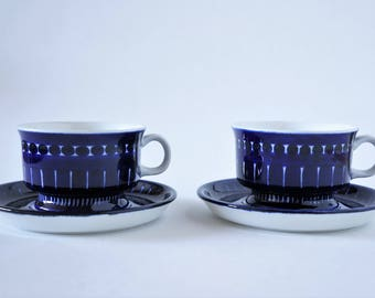 Arabia Finland Valencia Ulla Procope Hand Painted Small Coffee Cups / Espresso Cups and Saucers