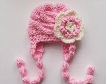 SALE 10% DISCOUNT Knit Baby Hat, Newborn Baby Girl Hat, Baby Girls Hat Photo Prop , Newborn Hat Baby Hat Earflap  , Knit Baby Hat , Crochet