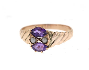 Vintage Amethyst Ring, Edwardian Rose Gold Amethyst & Pearl Ring, February Birthstone Ring
