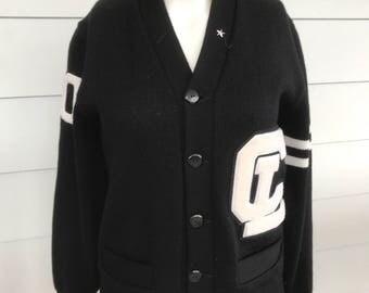 Vintage black wool letterman sweater