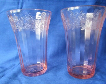 Two Pink Cherry Blossom 12 ounce Tumblers Jeannette Glass Depresson