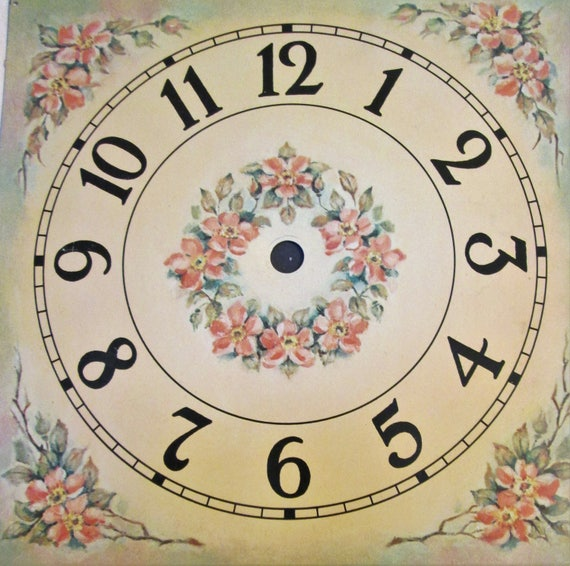 "1 Beautiful Vintage 7 1/8"" x 7 1/8"" Painted Metal Clock Dial with 3/4"" Numerals for your Clock Projects and etc..."