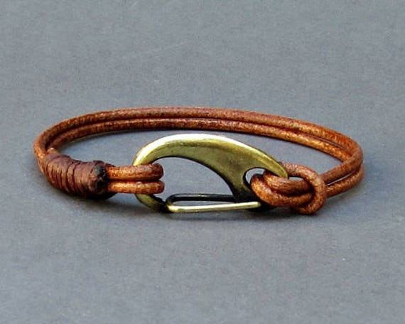 Mens Leather Shackle Bracelet Mens Bronze Nautical Carabiner Leather bracelet Cuff Customized On Your Wrist