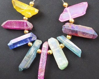 32mm/ Multi Color Strand / Titanium Crystal Agate / Crystal Points
