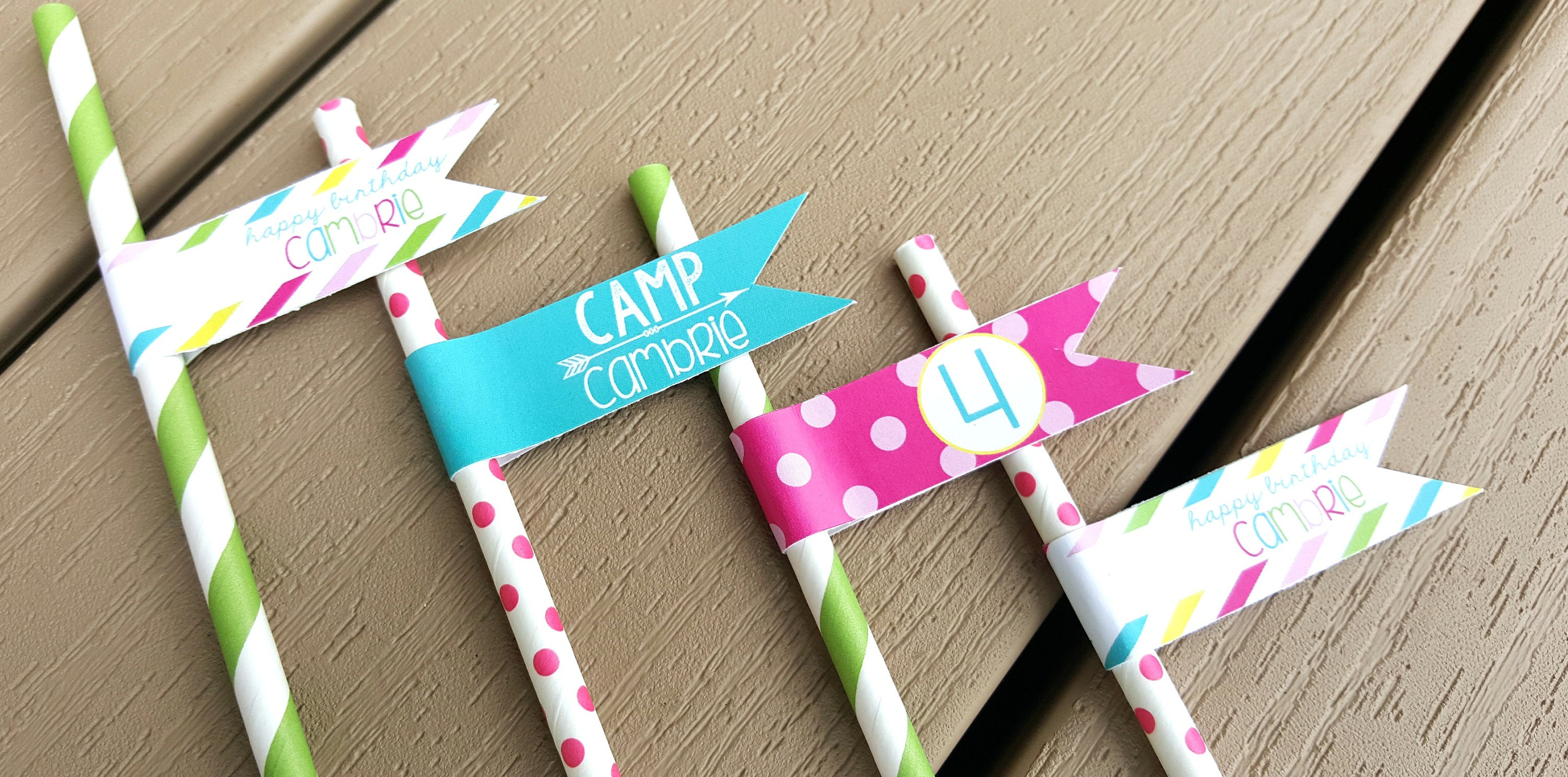 CAMPING BIRTHDAY PARTY Decorations 18 Straws Flags Girl