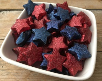 25mm Red and Blue Star Stardust Chunky Bead, Bubblegum Bead, Acrylic Bead, 4th of July, Military, Patriotic, DIY Chunky Necklace