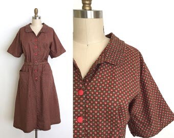 vintage 1940s dress | 40s shirtwaist dot dress