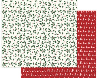2 Sheets of Photo Play MAD 4 PLAID CHRISTMAS 12x12 Scrapbook Cardstock Paper - Holly