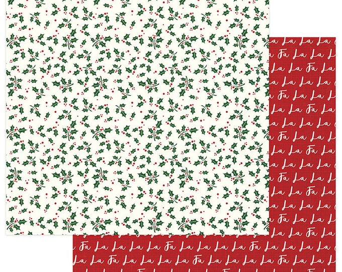 3 Sheets of Photo Play MAD 4 PLAID CHRISTMAS 12x12 Scrapbook Cardstock Paper - Holly
