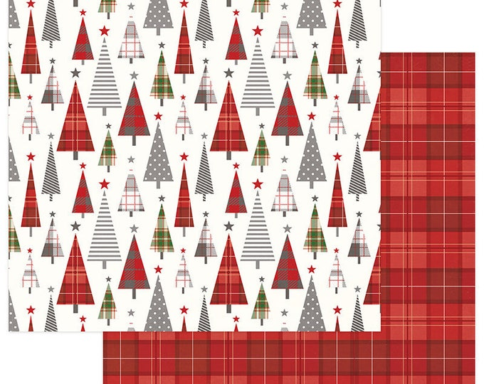 2 Sheets of Photo Play MAD 4 PLAID CHRISTMAS 12x12 Scrapbook Cardstock Paper - Tree Lot