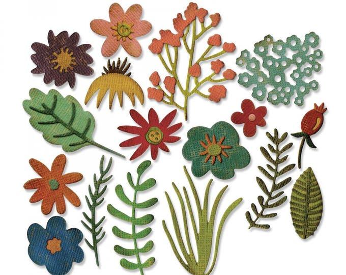 New!  Sizzix Tim Holtz Thinlits Die Set 17PK - Funky Floral #1 (662700)