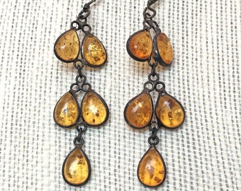 Sterling Silver Honey Amber Teardrop Earrings, Real 925 Baltic Amber, Vintage Rustic Tarnished Dangle Polished Gemstone Inclusions Genuine