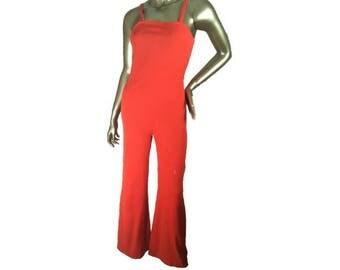 Vintage 70s Jumpsuit   Polyester   Tangerine Orange   Sleevless