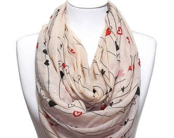 Heart Printed Scarf Lightweight Pareo Beachwrap Beach Cover Up Spring Summer Woman Fashion Accessory Scarves Women Gift Ideas For Her Mom