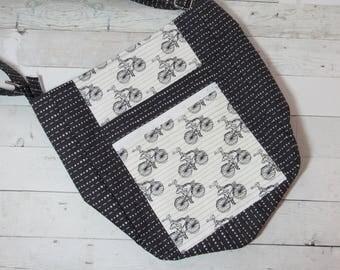 Large Cross Body Tote / Purse in Cute Bicycle Print - Adjustable Strap, Zip Pockets, Slip Pocket, Satchel, Shoulder Bag, Polka Dots, Gray