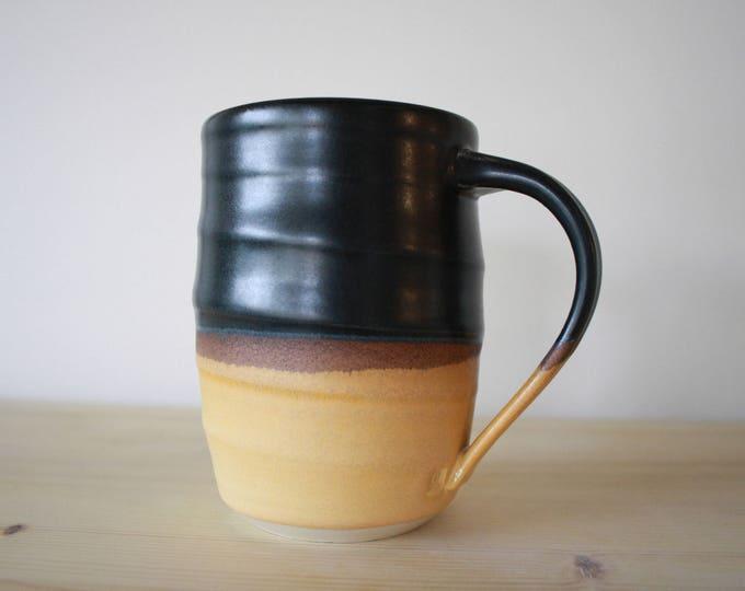 Coffee Mug - Porcelain - Black & Yellow - Handmade Mug - Ceramics - Pottery - KJ Pottery
