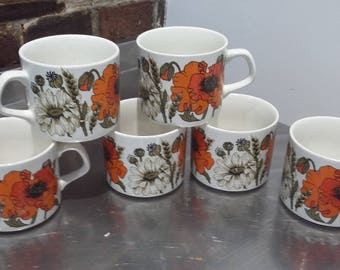 6 J and G Meakin Poppy Poppies Mugs