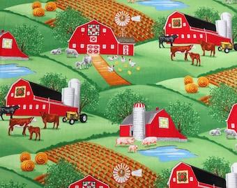 Farm Scenic w/ Barn & Farm Animals Green Timeless Treasures #2875 By the Yard