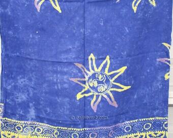 SUMMER SALE Sarong Pareo Beach Cover-up  Wrap Dress Skirt Hawaiian Bali  Purple Blue Star  color