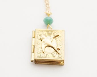 Gold Bird Locket, Swallow Locket, Bird necklace, Gold Swallow Locket Necklace, Book locket, Custom Bird Necklace, Birthstone locket