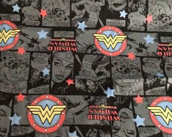 Pretty wonder women pattern lycra Cotton Fabric  50*150 cm 1/2 yard