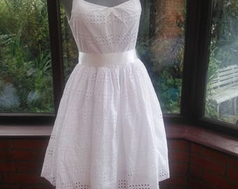 White Broderie Anglaise cotton lace dress size 26inch waist 36inch bust skirt length from waist to hem is 25inch length
