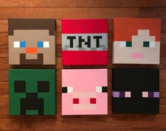 Minecraft inspired characters 8x8 canvas