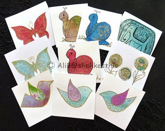 Handmade Blank greeting cards mixed set of 10 Note Cards with Envelope Thank You Birthdays or Hello