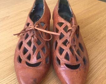 Vintage 1930s Shoes / Mr Christian / Brown Leather Lace up
