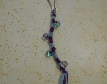 light blue and Purple Zipper Charm