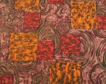 50's Vintage Mid century orange and browntextured cotton fabric