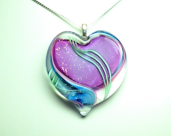 Ribbon Stardust Lampworked Art Glass Heart Pendant,Purple and Blue with Green Stripes