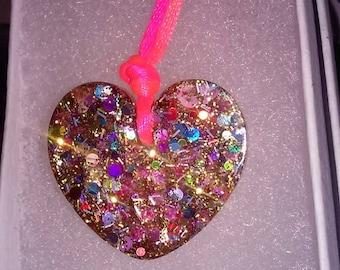 heart shaped  glitter pendent