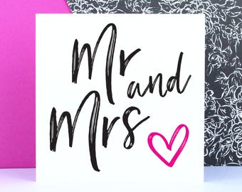 Wedding card, Mr & Mrs, Engagement card, Modern typographic wedding congratulations greeting card