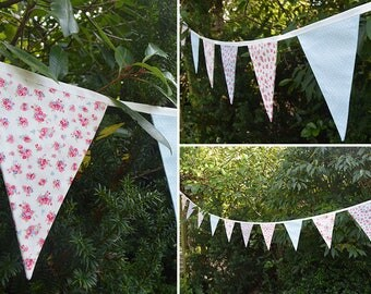 Handmade Fabric Bunting Forget-me-Not Blue Floral with Pink Floral & Blue/White Dots Design 12 Double-Sided Large Flags for Home and Garden