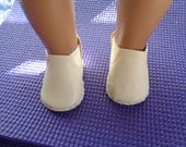 CHELSEA ANKLE BOOTS-Ivory Slip on Ankle Boots--for 18 Inch dolls-- Shown on my american girl doll
