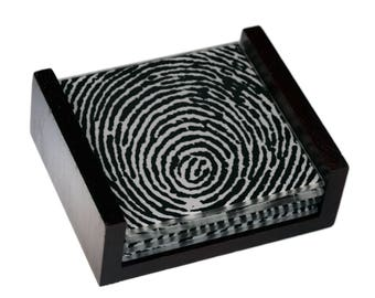 Fingerprint Coaster Set- 4 Piece  Square Glass Coasters -  Wood Box Caddy Included