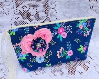 Blue and Pink Floral Zippered Pouch, Pencil Case, Accessory Bag, Makeup Bag, Lunch Bag, Craft Bag, Yarn Bag, Free USA Shipping