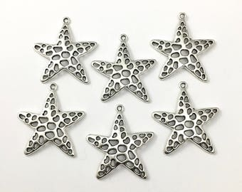 6 starfish charms antique silver, 40 mm # CH 245