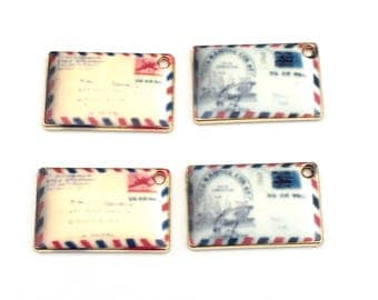 4 postcards charms gold tone and enamel , 18mm  #CH 619