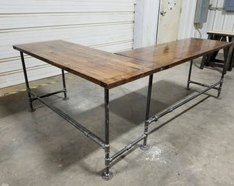 L Shaped Rustic Desk Industrial Computer Large Office Gaming Corner