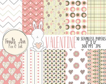 Valentine Digital Paper, Valentine's Day Digital Paper, Pink, Grey, Green, Digital Background, Digital Wallpaper, Scrapbook Paper